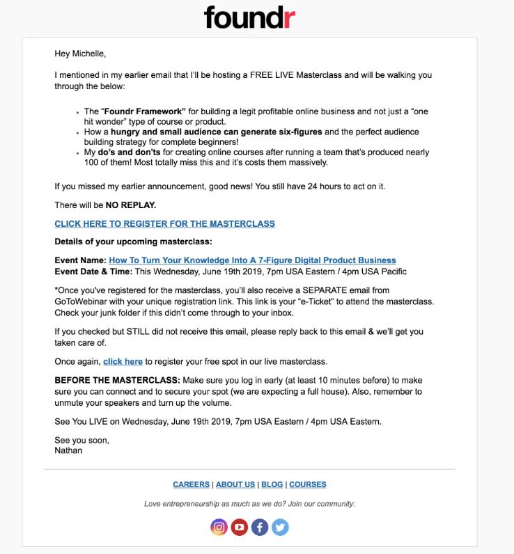 e-mail secondo invito webinar