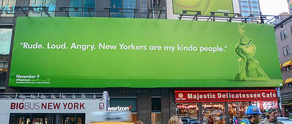 pubblicità del tabellone per le affissioni grinch New York City