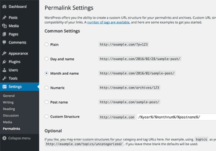 Impostazioni permalink di WordPress
