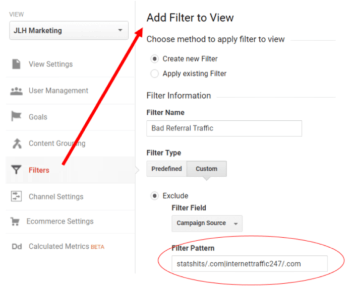 Filtro referrer in Google Analytics