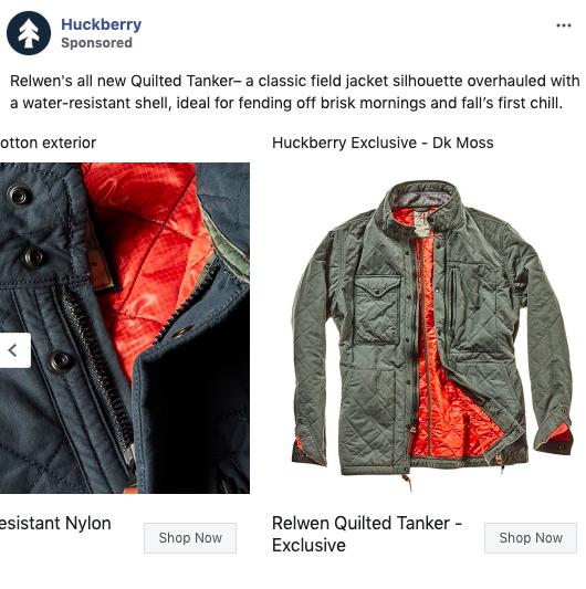 Esempio di annuncio carosello Facebook di Huckberry 2