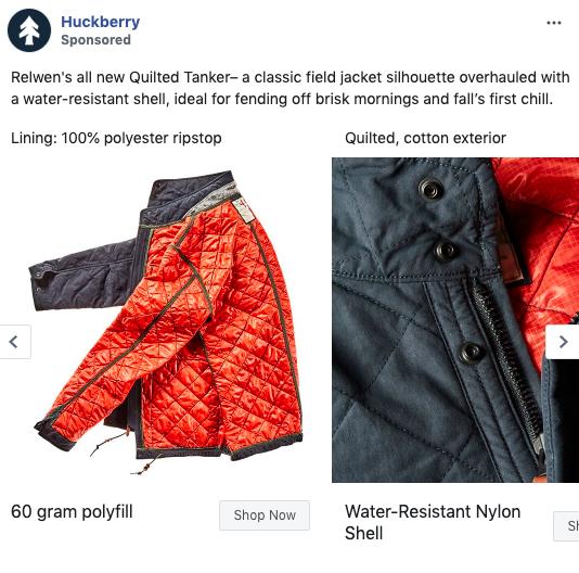 Esempio di annuncio carosello Facebook di Huckberry 1