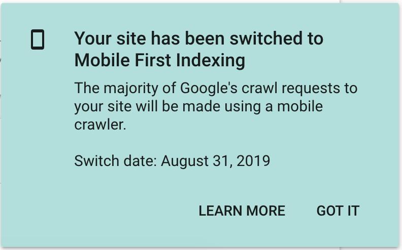 primo esempio di indicizzazione mobile