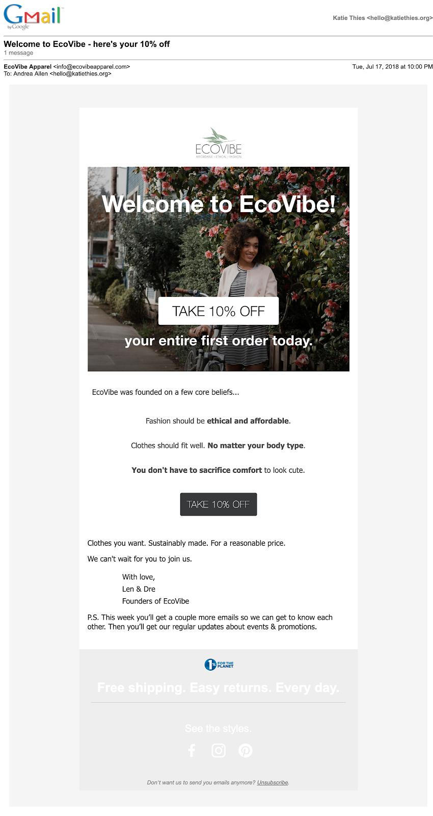 Esempio di e-mail e-commerce