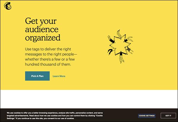 Pagina di destinazione di MailChimp con avviso relativo alle autorizzazioni sulla privacy