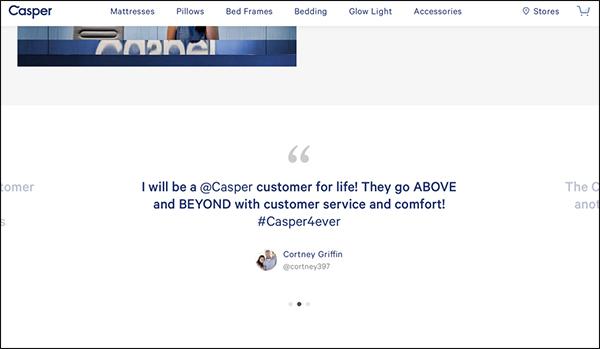 Testimonianze sulla pagina di destinazione di Casper