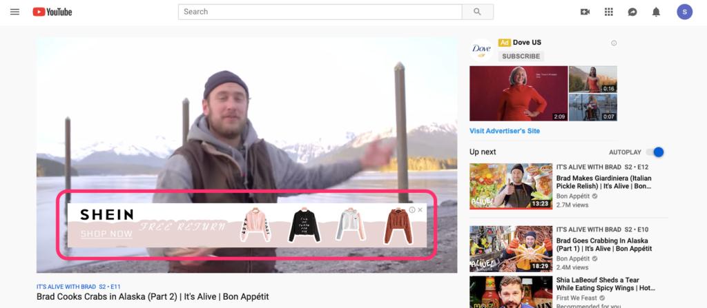 Sovrapponi dimensioni immagine annuncio YouTube