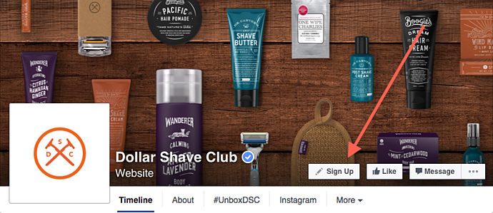 "dollar-shave-club-facebook-page-cta.png ""title ="" dollar-shave-club-facebook-page-cta.png ""width ="" 690 ""height ="" 299 ""srcset ="" https: // blog. hubspot.com/hs-fs/hubfs/dollar-shave-club-facebook-page-cta.png?width=345&height=150&name=dollar-shave-club-facebook-page-cta.png 345w, https: // blog .hubspot.com / hs-fs / hubfs / dollar-shave-club-facebook-page-cta.png? larghezza = 690 e altezza = 299 e nome = dollar-shave-club-facebook-page-cta.png 690w, https: // blog.hubspot.com/hs-fs/hubfs/dollar-shave-club-facebook-page-cta.png?width=1035&height=449&name=dollar-shave-club-facebook-page-cta.png 1035w, https: / /blog.hubspot.com/hs-fs/hubfs/dollar-shave-club-facebook-page-cta.png?width=1380&height=598&name=dollar-shave-club-facebook-page-cta.png 1380w, https: //blog.hubspot.com/hs-fs/hubfs/dollar-shave-club-facebook-page-cta.png?width=1725&height=748&name=dollar-shave-club-facebook-page-cta.png 1725w, https :? //blog.hubspot.com/hs-fs/hubfs/dollar-shave-club-facebook-page-cta.png width = 2070 & height = 897 & name = dollar-barba-club-Faceb ook-page-cta.png 2070w ""dimensioni ="" (larghezza massima: 690px) 100vw, 690px"