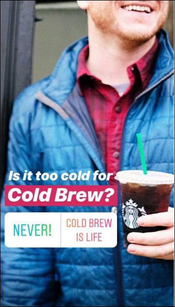 Starbucks utilizza un adesivo di scelta per aumentare il coinvolgimento nella loro storia di Instagram