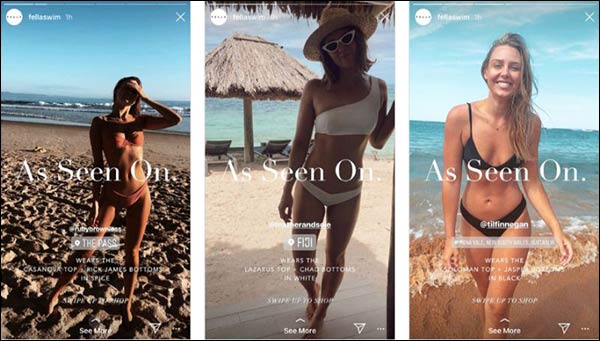 I contenuti ricondivisi sulla Storia Instagram di fellaswim aumentano il coinvolgimento