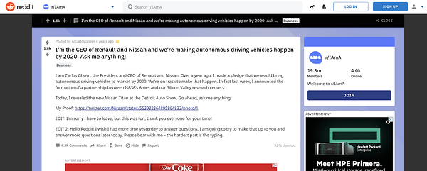 """Nissan AMA su Reddit """"larghezza ="""" 600 """"style ="""" larghezza: 600px; blocco di visualizzazione; margine: 0px auto; """"srcset ="""" https://blog.hubspot.com/hs-fs/hubfs/How%2010%20Brands%20Use%20Reddit%20for%20Marketing-8.png?width=300&name=How%2010 % 20Brands% 20Use% 20Reddit% 20for% 20Marketing-8.png 300w, https://blog.hubspot.com/hs-fs/hubfs/How%2010%20Brands%20Use%20Reddit%20for%20Marketing-8.png? width = 600 & name = How% 2010% 20Brands% 20Utilizzare% 20Reddit% 20for% 20Marketing-8.png 600w, https://blog.hubspot.com/hs-fs/hubfs/How%2010%20Brands%20Use%20Reddit%20for % 20Marketing-8.png? Width = 900 & name = How% 2010% 20Brands% 20Use% 20Reddit% 20for% 20Marketing-8.png 900w, https://blog.hubspot.com/hs-fs/hubfs/How%2010% 20 Marchi% 20Uso% 20Reddit% 20per% 20Marketing-8.png? Larghezza = 1200 e nome = Come% 2010% 20 Marchi% 20Uso% 20Reddit% 20for% 20Marketing-8.png 1200w, https://blog.hubspot.com/hs-fs /hubfs/How%2010%20Brands%20Use%20Reddit%20for%20Marketing-8.png?width=1500&name=How%2010%20Brands%20Use%20Reddit%20for%20Marketing-8.png 1500w, https: // blog. hubspot.com/hs-fs/hubfs/How%2010%20Brands%20Use%20Reddit%20for%20Marketing-8.png?width=1800&name = Come% 2010% 20 Marchi% 20Utilizzare% 20Reddit% 20per% 20Marketing-8.png 1800w """"dimensioni ="""" (larghezza massima: 600px) 100vw, 600px"""
