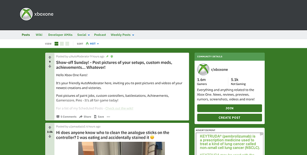 """User Generated XBox subreddit where Xbox reps participate in discussion"""" width=""""600"""" style=""""width: 600px; display: block; margin: 0px auto;"""" srcset=""""https://blog.hubspot.com/hs-fs/hubfs/How%2010%20Brands%20Use%20Reddit%20for%20Marketing-4.png?width=300&name=How%2010%20Brands%20Use%20Reddit%20for%20Marketing-4.png 300w, https://blog.hubspot.com/hs-fs/hubfs/How%2010%20Brands%20Use%20Reddit%20for%20Marketing-4.png?width=600&name=How%2010%20Brands%20Use%20Reddit%20for%20Marketing-4.png 600w, https://blog.hubspot.com/hs-fs/hubfs/How%2010%20Brands%20Use%20Reddit%20for%20Marketing-4.png?width=900&name=How%2010%20Brands%20Use%20Reddit%20for%20Marketing-4.png 900w, https://blog.hubspot.com/hs-fs/hubfs/How%2010%20Brands%20Use%20Reddit%20for%20Marketing-4.png?width=1200&name=How%2010%20Brands%20Use%20Reddit%20for%20Marketing-4.png 1200w, https://blog.hubspot.com/hs-fs/hubfs/How%2010%20Brands%20Use%20Reddit%20for%20Marketing-4.png?width=1500&name=How%2010%20Brands%20Use%20Reddit%20for%20Marketing-4.png 1500w, https://blog.hubspot.com/hs-fs/hubfs/How%2010%20Brands%20Use%20Reddit%20for%20Marketing-4.png?width=1800&name=How%2010%20Brands%20Use%20Reddit%20for%20Marketing-4.png 1800w"""" sizes=""""(max-width: 600px) 100vw, 600px"""