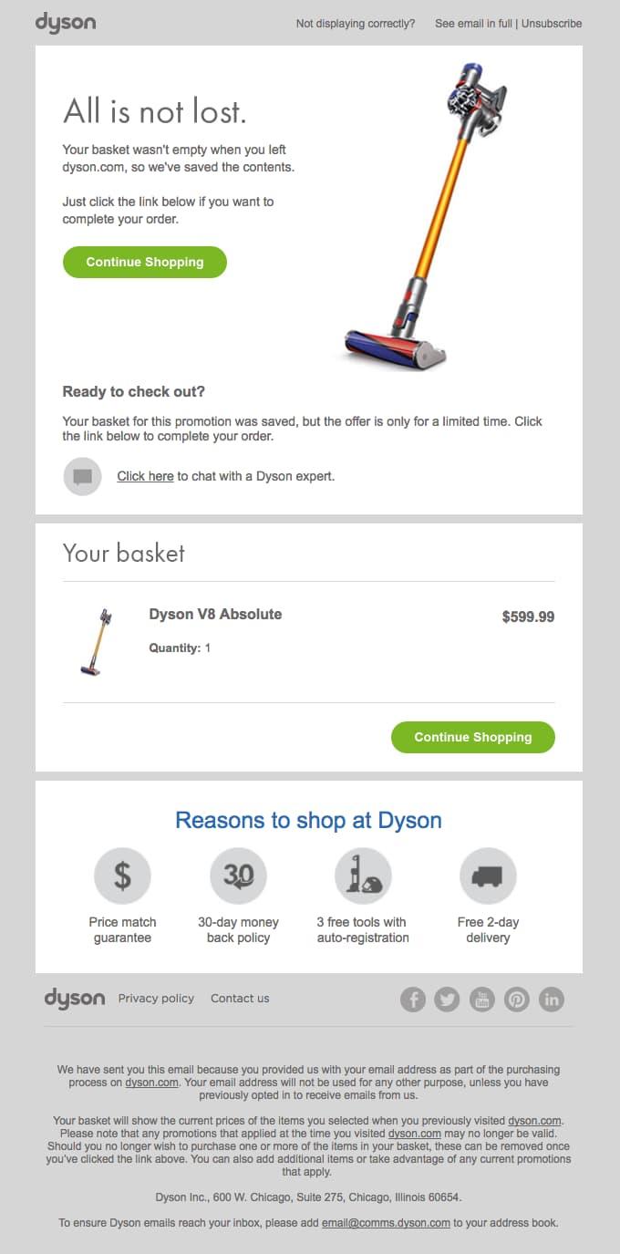 Dyson superbo esempio di e-mail carrello abbandonato.