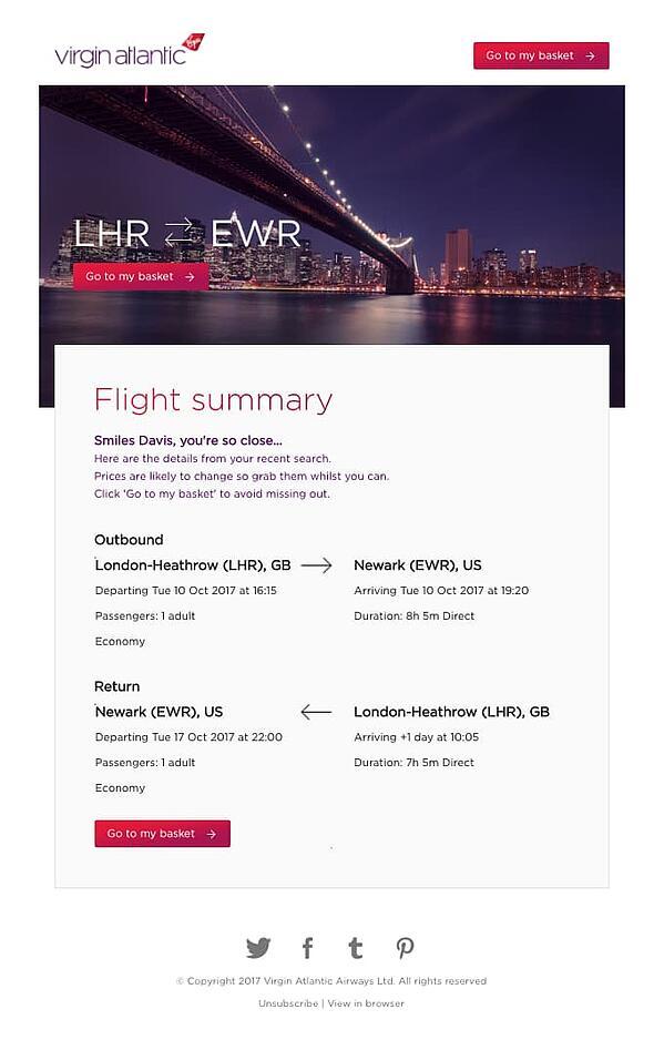 Email di carrello abbandonata alla moda di Virgin Atlantic.