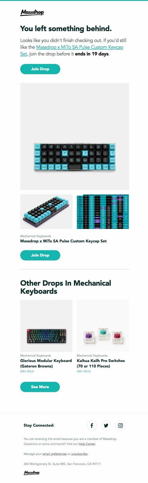 Drop utilizza la posta elettronica del carrello abbandonata per continuare a vendere altri prodotti.