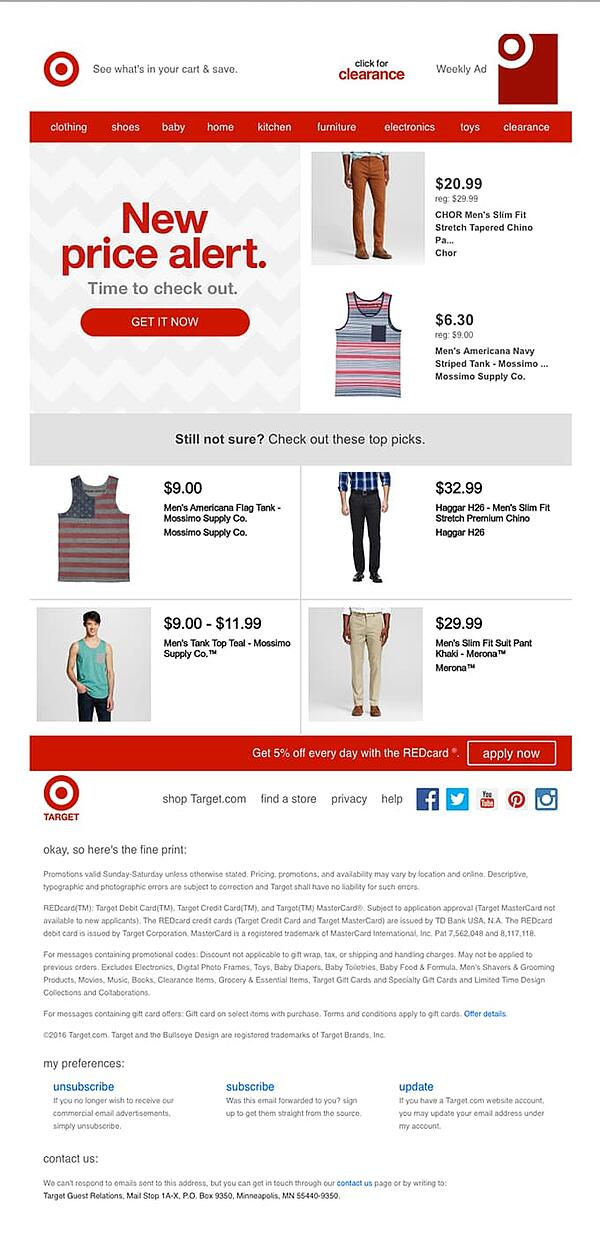 Target utilizza sconti nell'e-mail del carrello abbandonata.