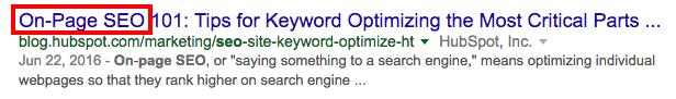 Link ai risultati del motore di ricerca con un titolo ottimizzato per parole chiave