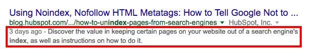 esempio di una meta descrizione su google