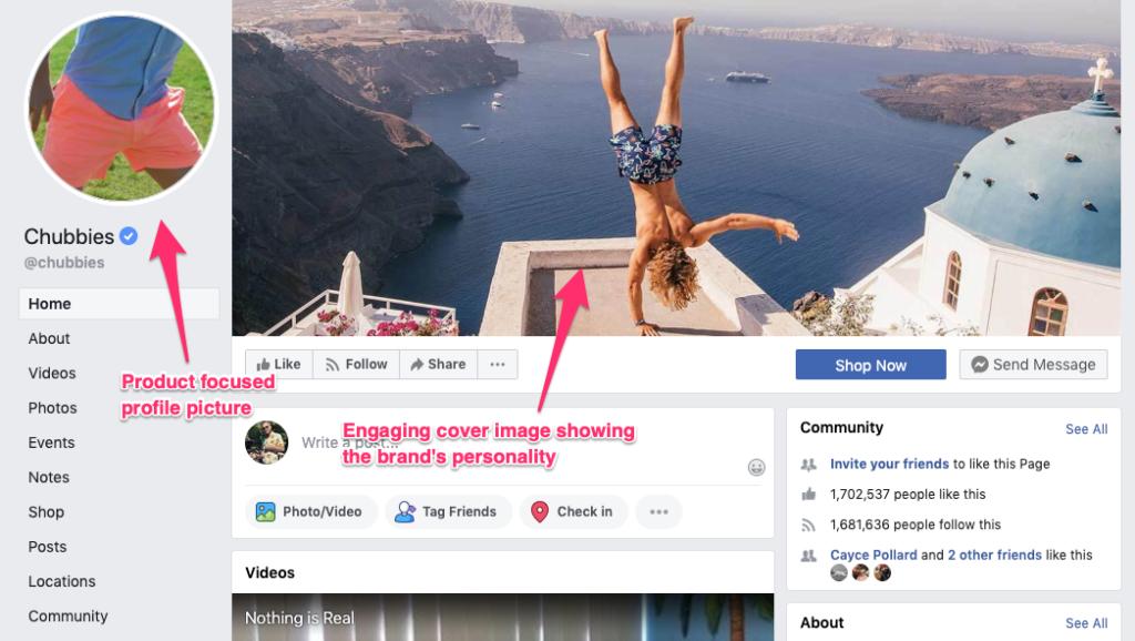 Facebook piace sulla pagina aziendale di Chubbies