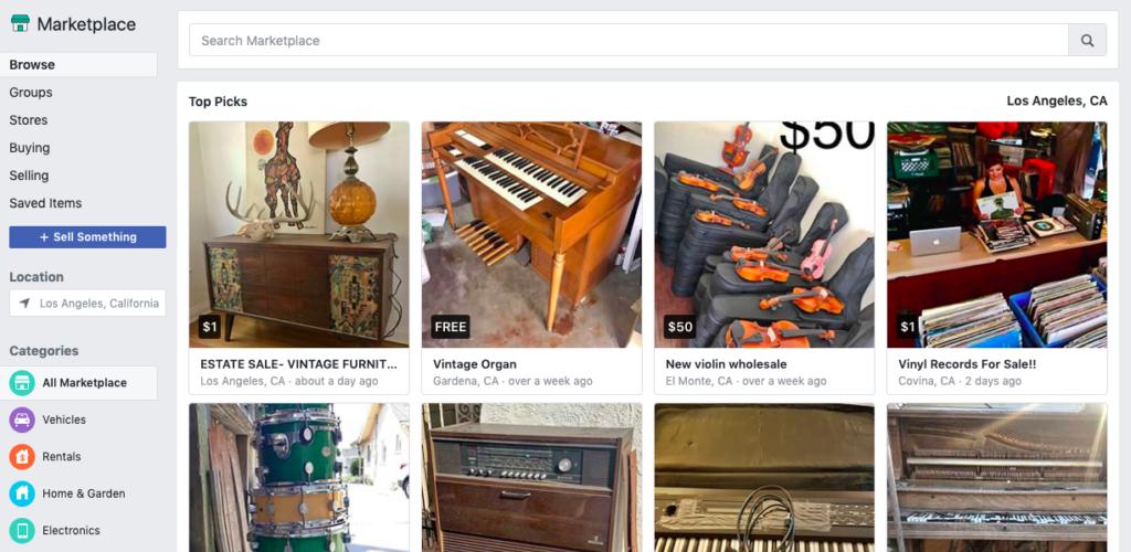 Esempio di marketplace di Facebook