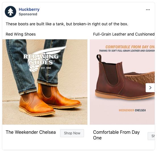 Annuncio carosello Facebook di Huckberry