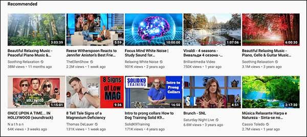 Consigli di YouTube basati su un algoritmo AI