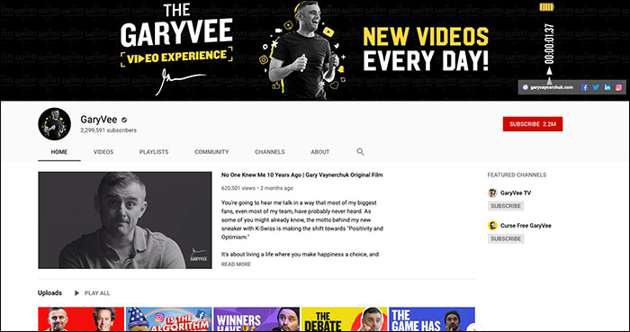 Pagina YouTube di Gary Vee