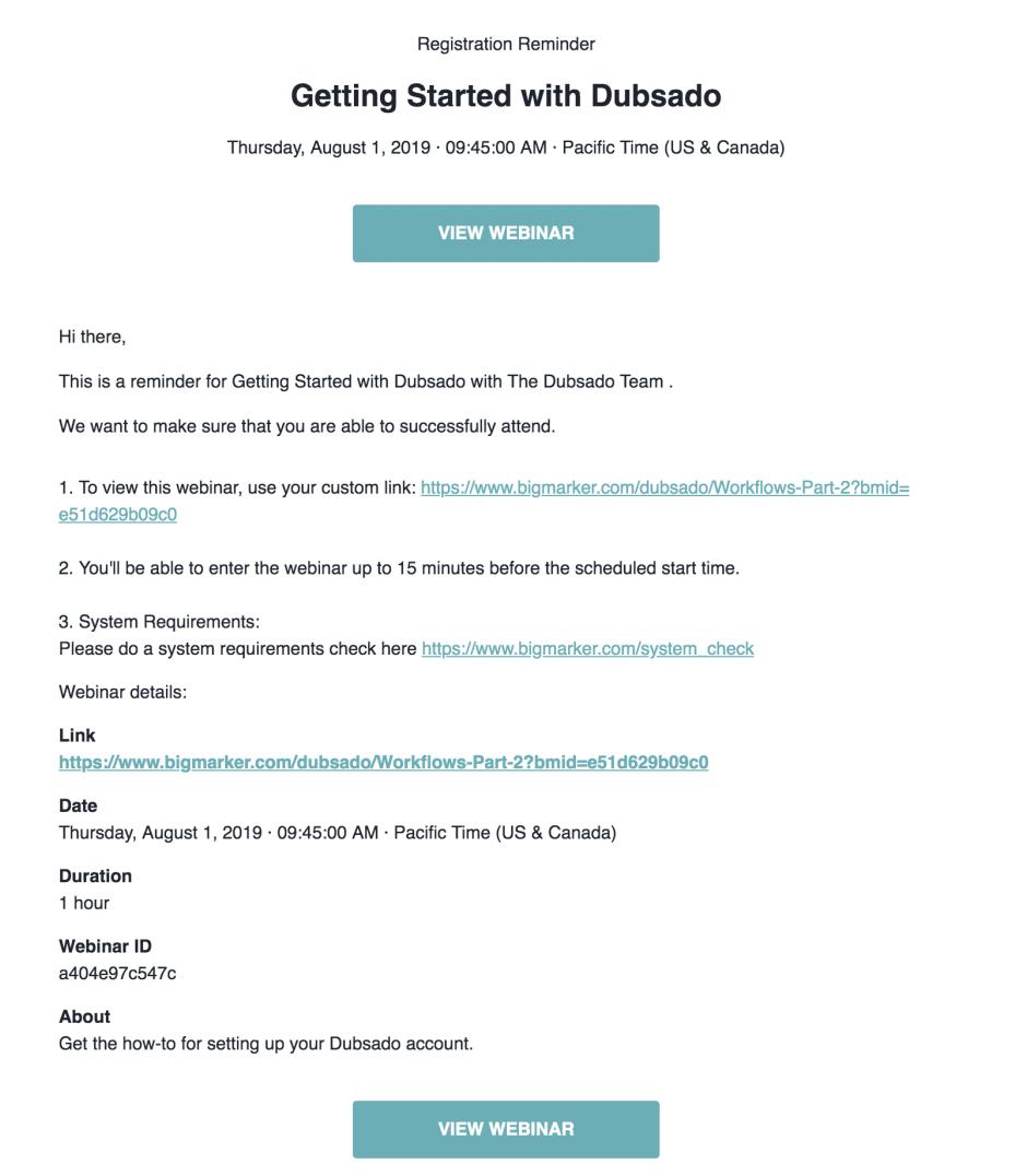 e-mail di promozione webinar per l'onboarding.