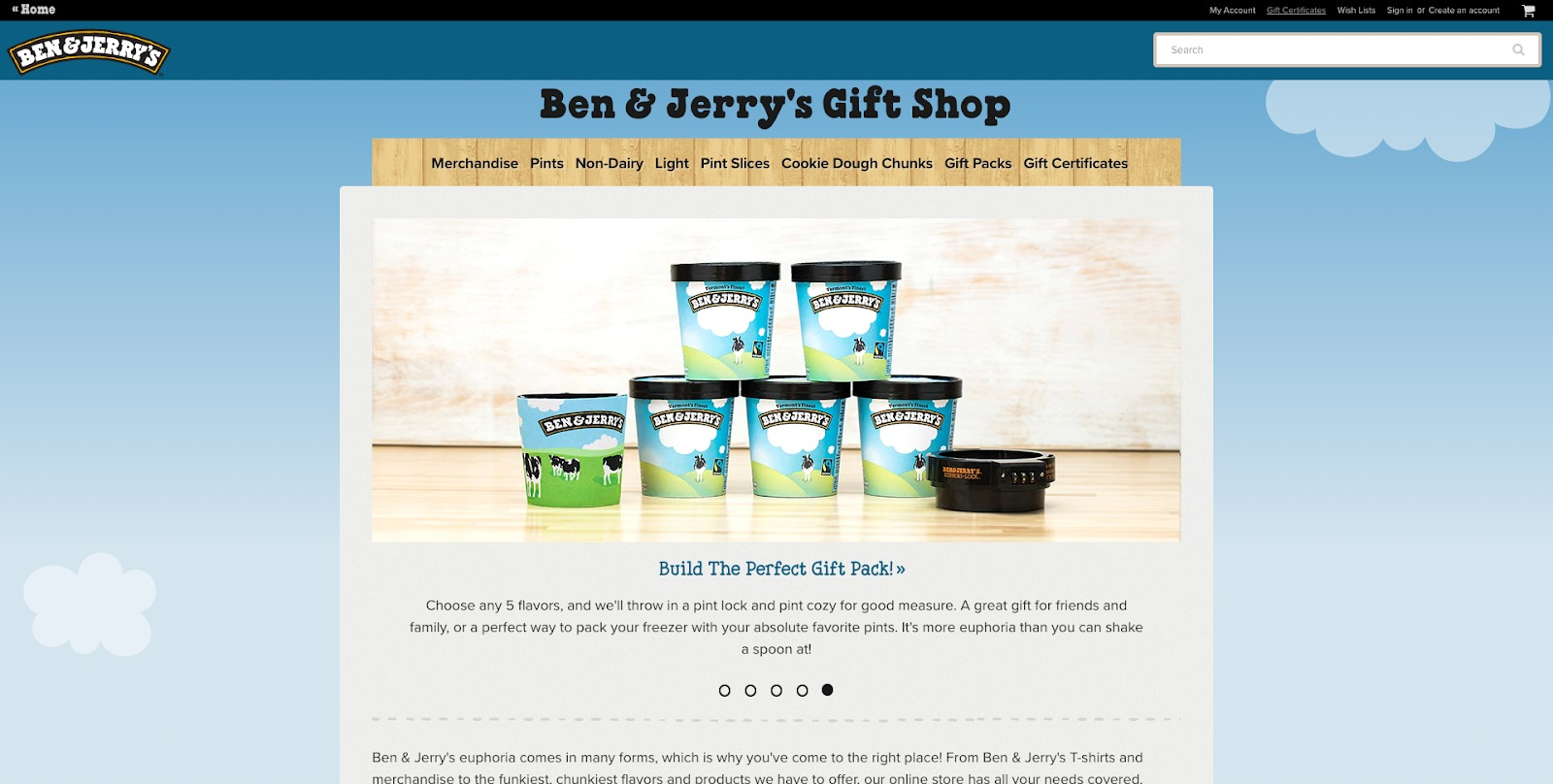 Homepage di Ben And Jerrys