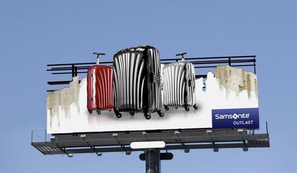 cartellone pubblicitario samsonite