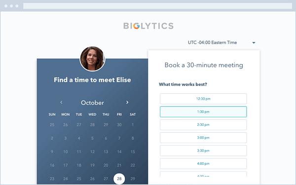 HubSpot Meeting Scheduling App e interfaccia del sito Web