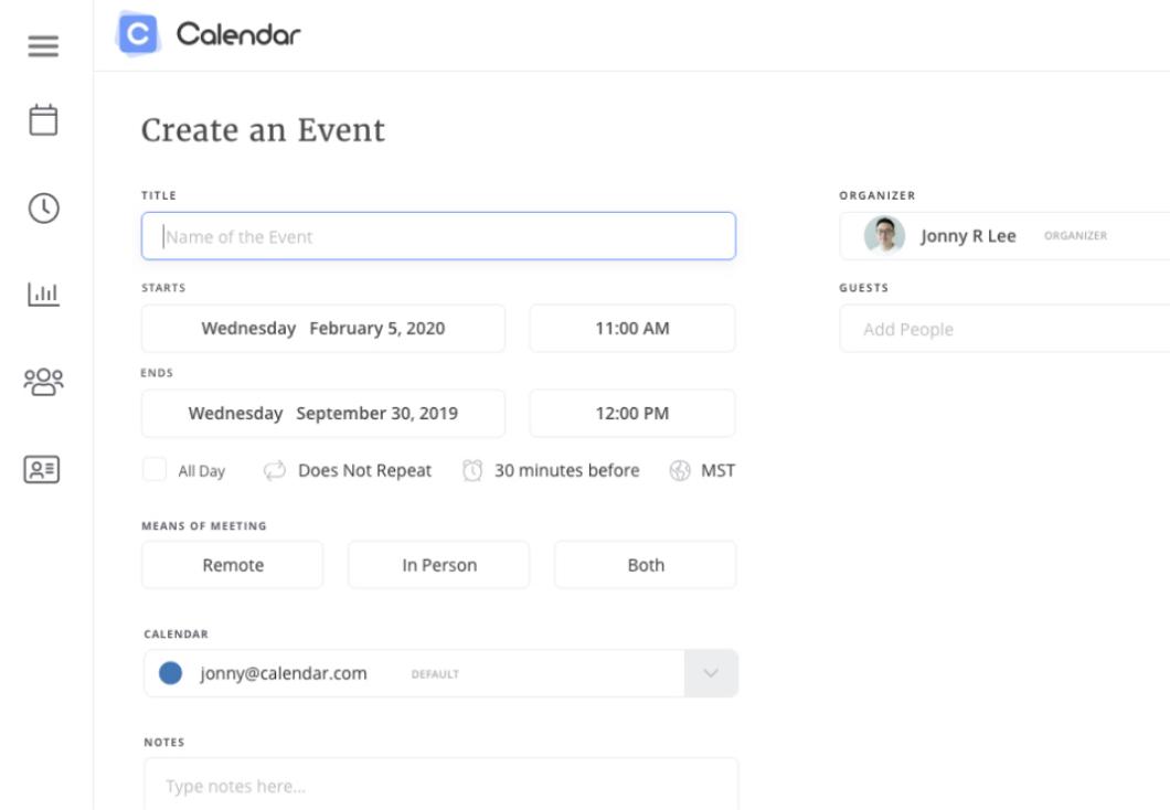 Crea una pagina Evento sul sito Web di Calendar
