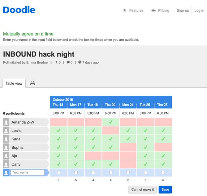 """doodle scheduler consente ai team di mostrare la disponibilità """"title ="""" doodle.png """"style ="""" display: block; margine sinistro: auto; margine destro: auto;"""