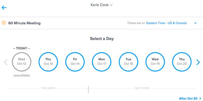 """schermata di selezione dell'ora e del giorno del calendario """"title ="""" calendly-time.png """"style ="""" display: block; margine sinistro: auto; margine destro: auto;"""