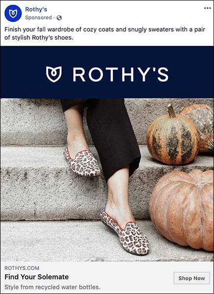Annuncio di Rothy che ha un tema autunnale per la loro strategia di marketing stagionale