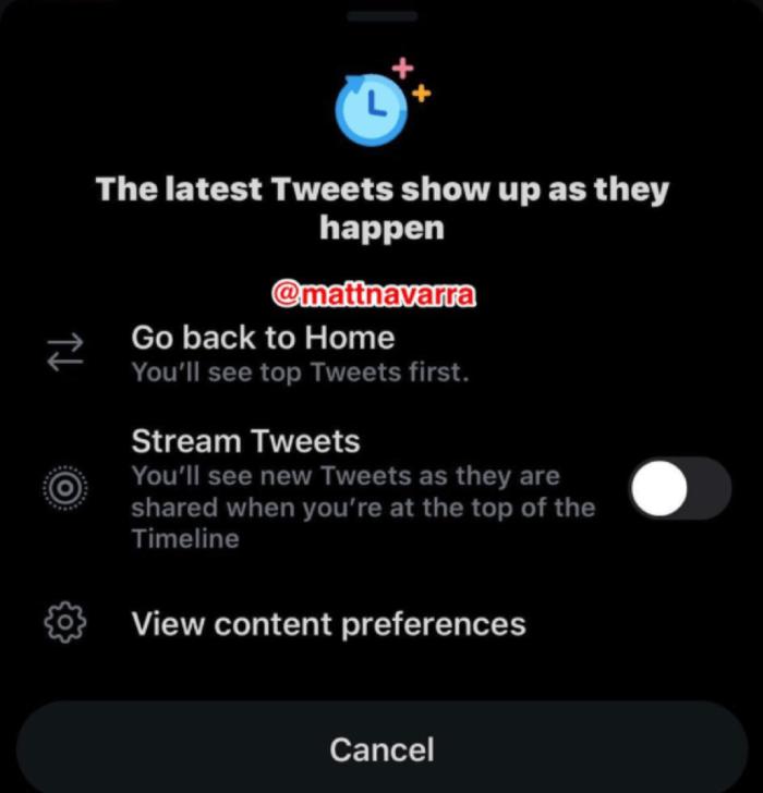 Opzione Stream Tweets