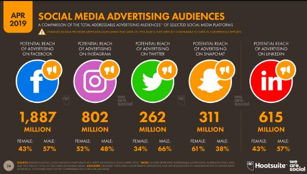 """Infografica che mostra il pubblico pubblicitario dei social media. """"Style ="""" display: block; margine sinistro: auto; margine destro: auto;"""