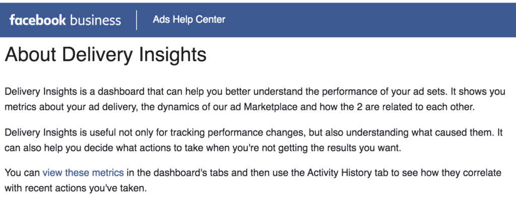 Facebook Delivery Insights cos'è