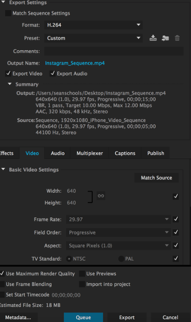 "Impostazioni di Adobe Premiere Pro per l'esportazione video. ""Width ="" 393 ""style ="" larghezza: 393px; blocco di visualizzazione; margine sinistro: auto; margin-right: auto; ""srcset ="" https://blog.hubspot.com/hs-fs/hubfs/The%20Ultimate%20Guide%20to%20Creating%20Instagram%20Videos-1.png?width=197&name=The% 20Ultimate% 20Guide% 20to% 20Creating% 20Instagram% 20Videos-1.png 197w, https://blog.hubspot.com/hs-fs/hubfs/The%20Ultimate%20Guide%20to%20Creating%20Instagram%20Videos-1.png ? width = 393 & name = The% 20Ultimate% 20Guide% 20to% 20Creating% 20Instagram% 20Videos-1.png 393w, https://blog.hubspot.com/hs-fs/hubfs/The%20Ultimate%20Guide%20to%20Creating% 20Instagram% 20Videos-1.png? Width = 590 & name = The% 20Ultimate% 20Guide% 20to% 20Creating% 20Instagram% 20Videos-1.png 590w, https://blog.hubspot.com/hs-fs/hubfs/The%20Ultimate % 20Guide% 20to% 20Creating% 20Instagram% 20Videos-1.png? Width = 786 & name = The% 20Ultimate% 20Guide% 20to% 20Creating% 20Instagram% 20Videos-1.png 786w, https://blog.hubspot.com/hs- fs / hubfs / The% 20Ultimate% 20Guide% 20to% 20Creating% 20Instagram% 20Videos-1.png? width = 983 & name = The% 20Ultimate% 20Guide% 20to% 20Creating% 20Instagram% 20Videos-1.png 983w, https: // blog .hubspot. com / hs-fs / hubfs / The% 20Ultimate% 20Guide% 20to% 20Creating% 20Instagram% 20Videos-1.png? width = 1179 & name = The% 20Ultimate% 20Guide% 20to% 20Creating% 20Instagram% 20Videos-1.png 1179w ""dimensioni = ""(larghezza massima: 393px) 100vw, 393px"