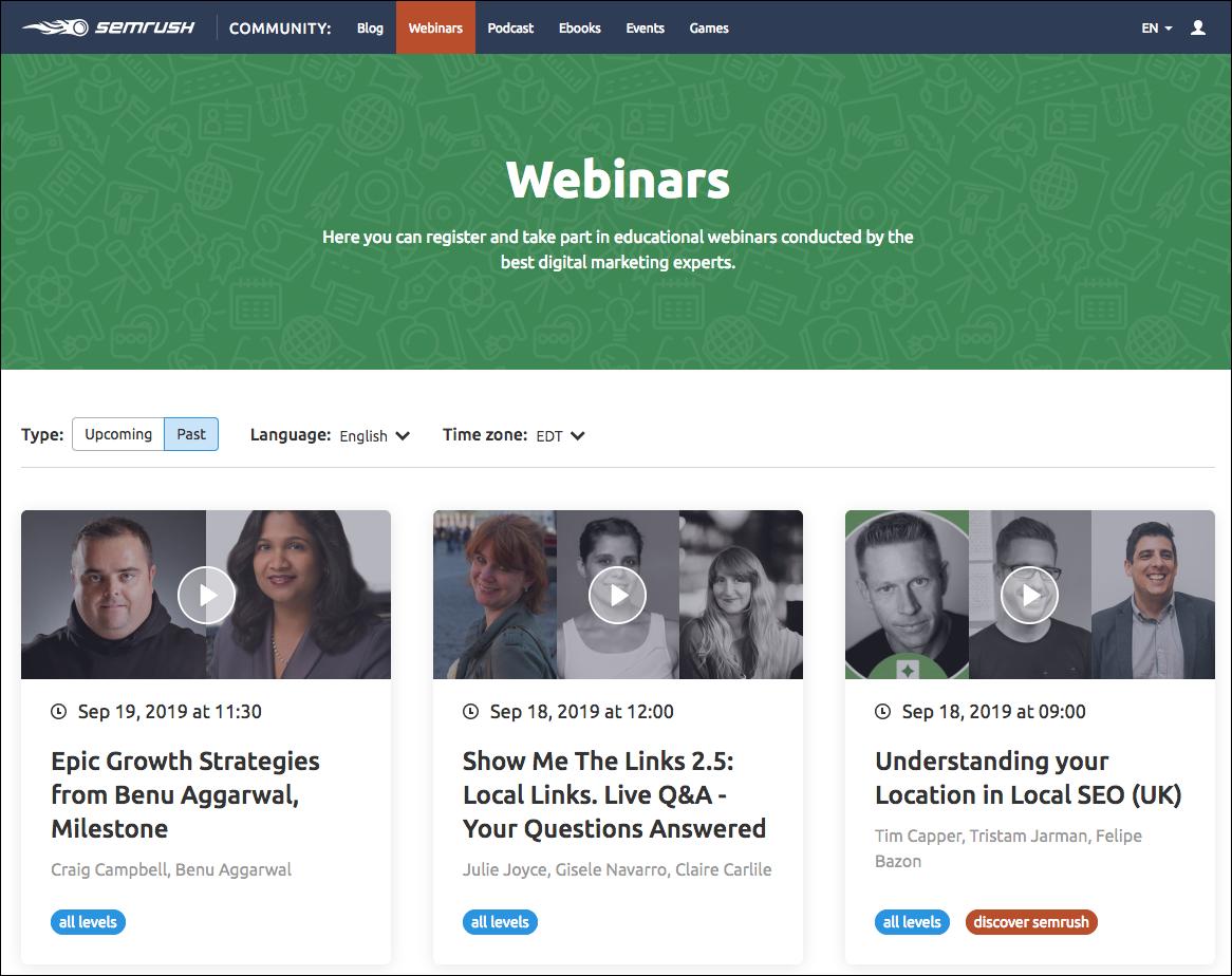 esempio di società b2b con un grande gruppo di webinar.