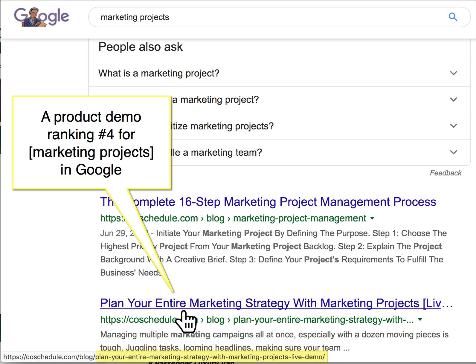 esempio di video dimostrativo di prodotto che si colloca bene per termini di ricerca ad alto volume.