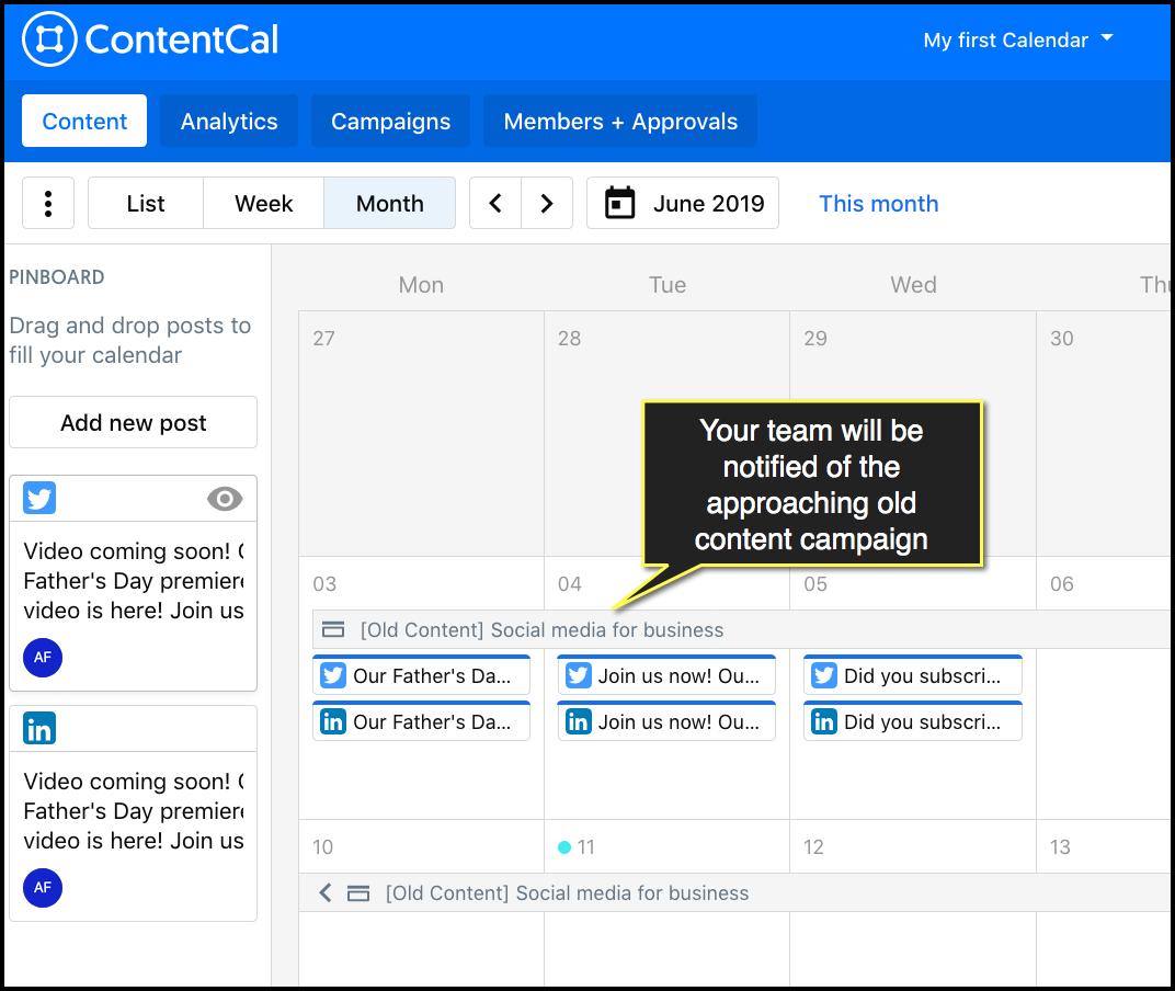 esempio di come lo strumento contentcal aiuta a gestire la pubblicazione dei contenuti.