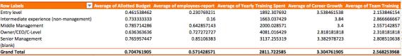 Schermata di una tabella pivot con i nostri dati di ricerca.