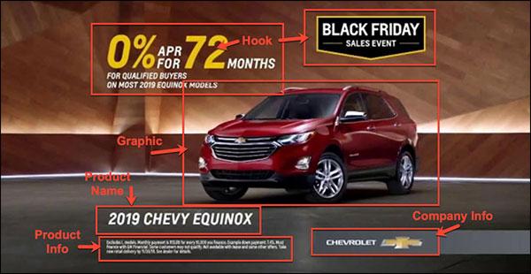 Annuncio Chevy con tutti gli stessi elementi di marketing