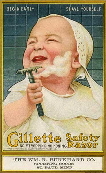 Annuncio Gillette che enfatizza la sicurezza del prodotto