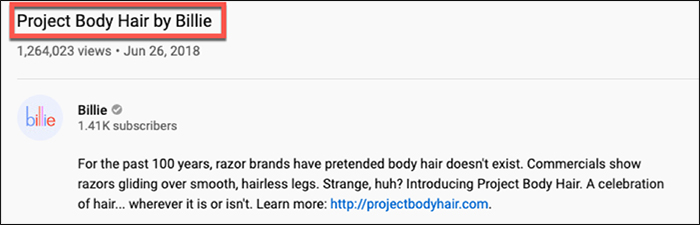 Descrizione del video di Project Body Hair by Billie