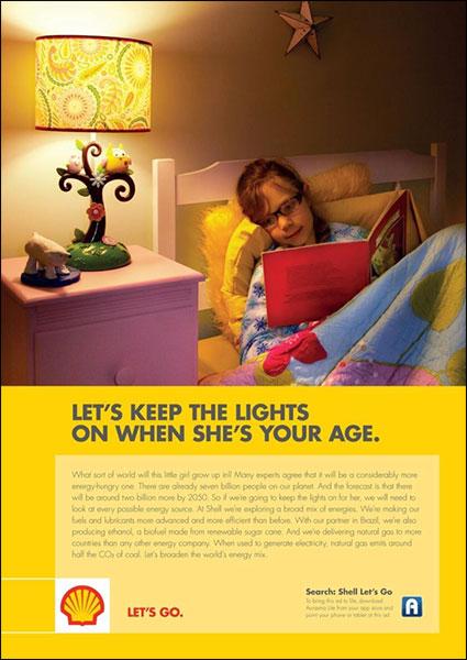 Annuncio Shell recente che incarna l'evoluzione del marketing della vendita del perché.