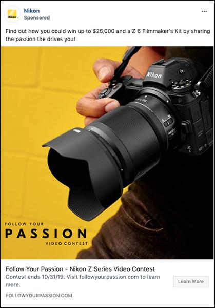 Annuncio Nikon per Trova il tuo concorso Passion per mostrare l'evoluzione dei messaggi di marketing