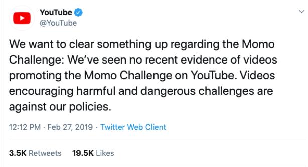 YouTube Momo Challenge Tweet