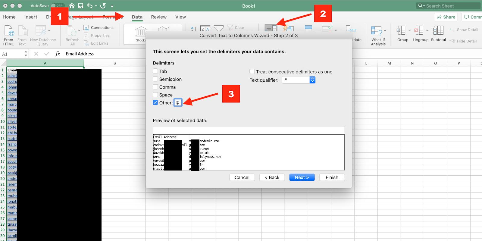 estrarre domini da e-mail all'interno di un crm.